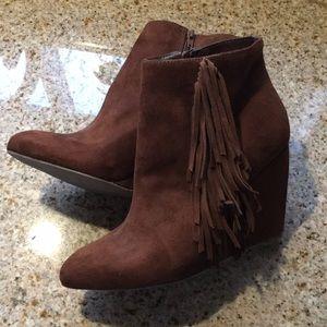 Fringe heeled booties